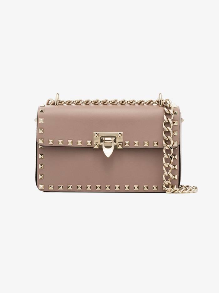 Valentino pink garavani rockstud leather shoulder bag