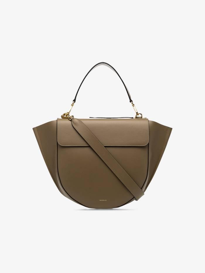 Wandler olive green hortensia Large leather shoulder bag