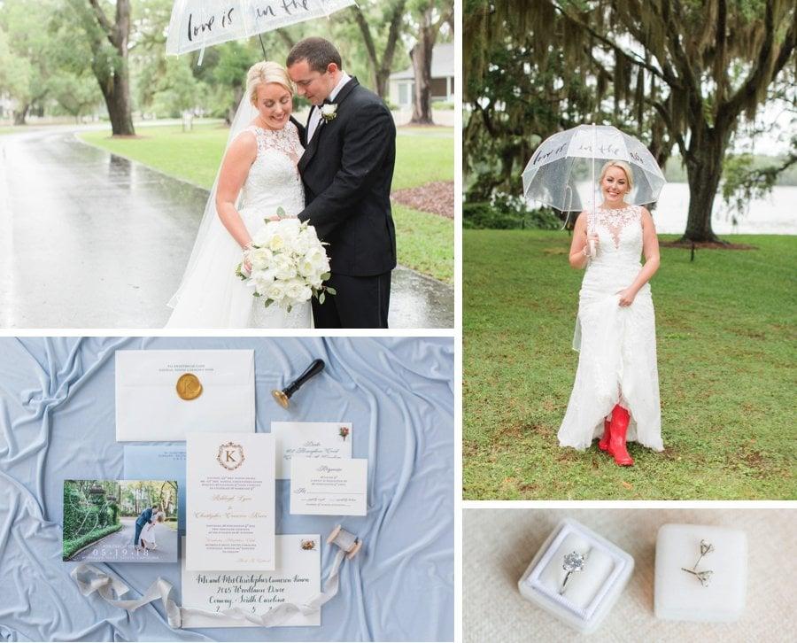 A pretty pastel rainy real wedding