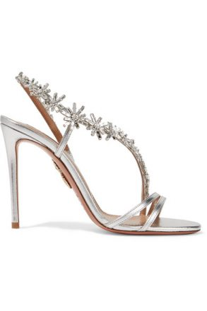 Aquazzura - Chateau Crystal-embellished Metallic Leather Sandals - Silver