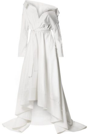 Danielle Frankel - Lou Off-the-shoulder Cotton-blend Poplin Gown - Ivory