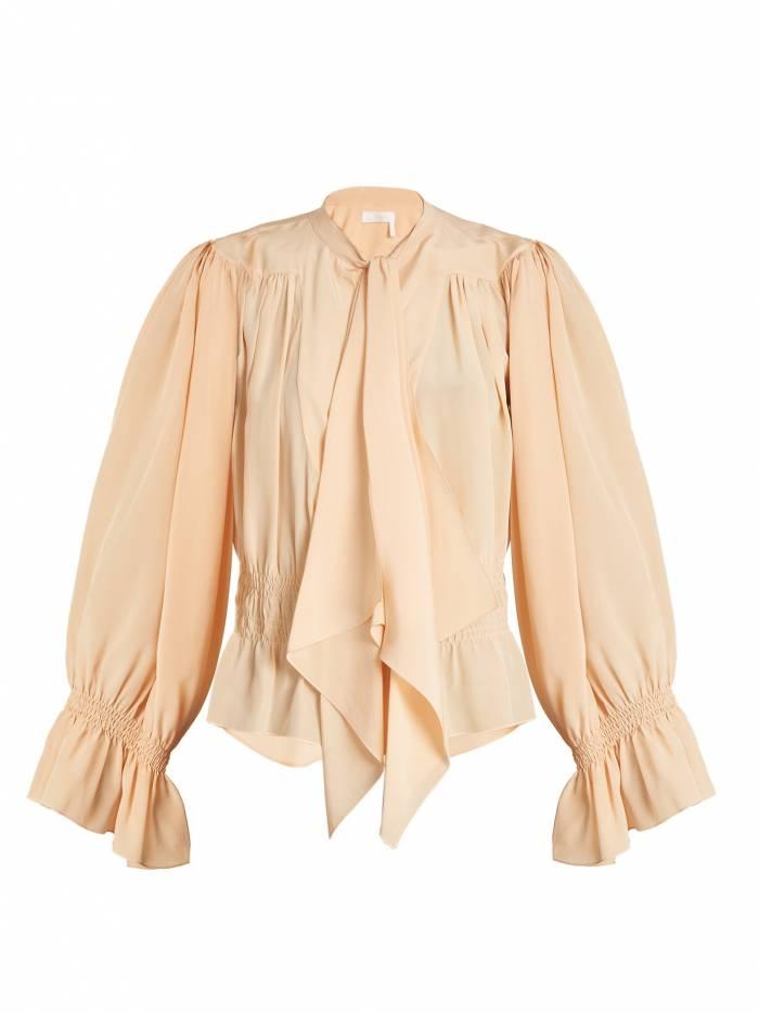 Tie-neck gathered silk crepe de Chine blouse