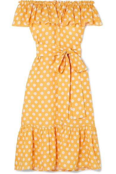 Lisa Marie Fernandez - Mira Off-the-shoulder Polka-dot Linen Midi Dress - Orange