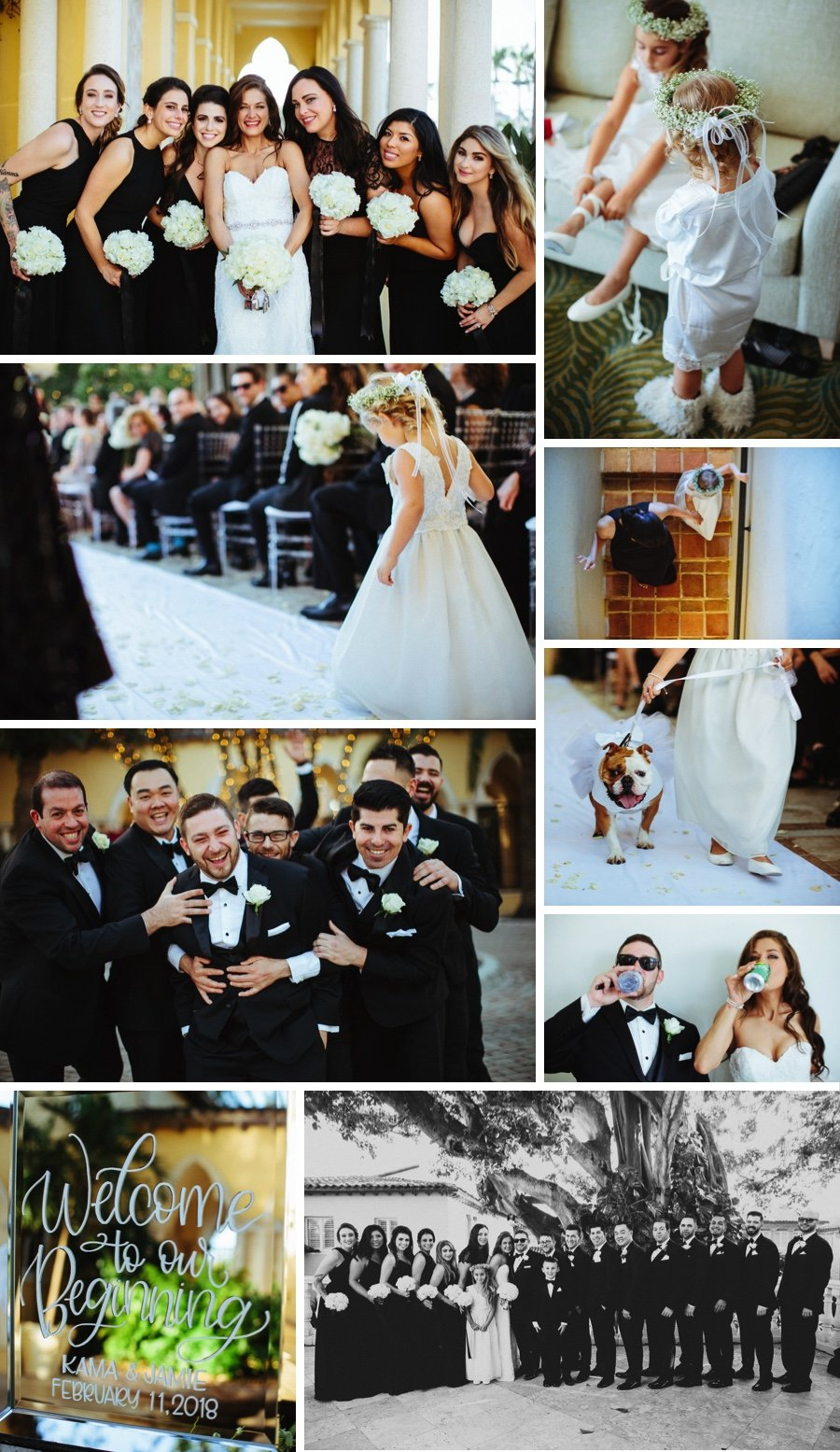 Real wedding: White florals and a furry friend