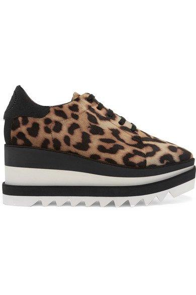 e9c5fef2cf Stella McCartney - Elyse Faux Leather-trimmed Leopard-print Satin Platform  Brogues - Brown - Wedding Boutique