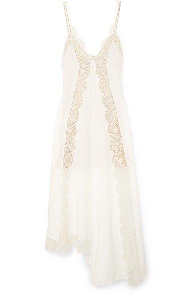 138d98dec Stella McCartney - Asymmetric Lace-trimmed Silk Crepe De Chine Dress - Ivory  - Wedding Boutique
