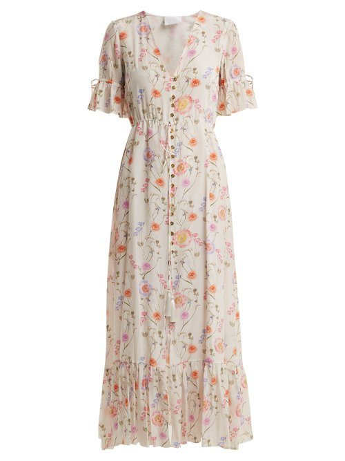 Athena Procopiou – Gold In The Air Of Summer Silk Dress – Womens – White Print