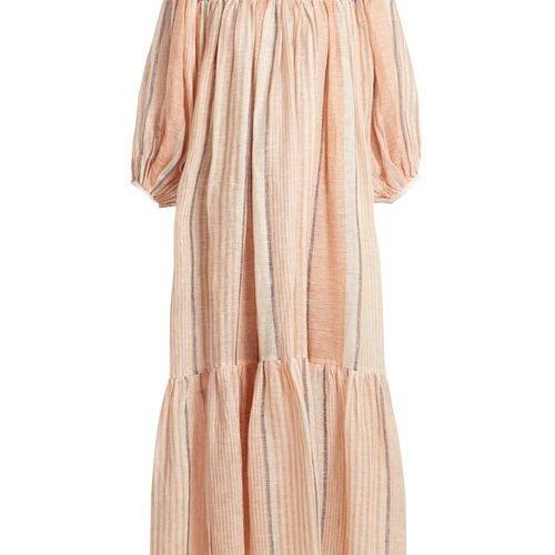 Love Binetti – Paisley Print V Neck Striped Cotton Dress – Womens – Orange
