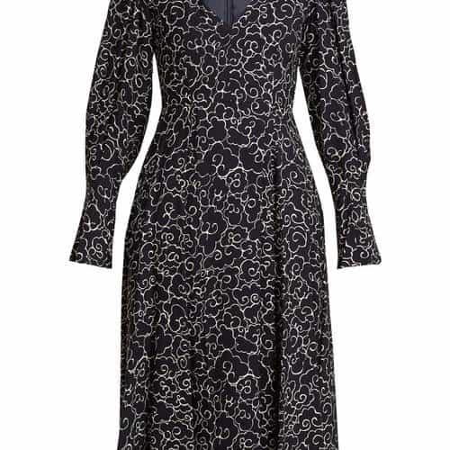 Alexachung - Cloud Print V Neck Crepe Dress - Womens - Navy White