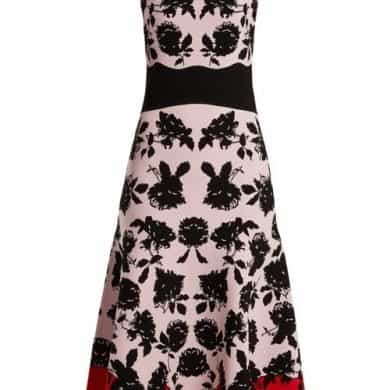 Alexander Mcqueen - Rose Intarsia Off The Shoulder Knit Dress - Womens - Pink Multi