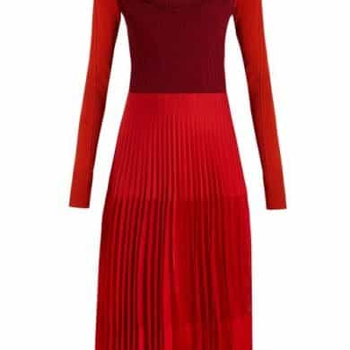 Alexander Mcqueen - Stretch Knit Pleated Midi Dress - Womens - Orange Multi