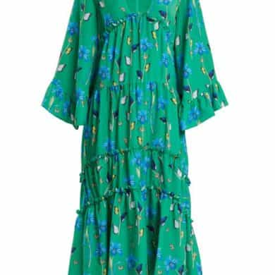 Borgo De Nor - Iris Crepe Dress - Womens - Green Print
