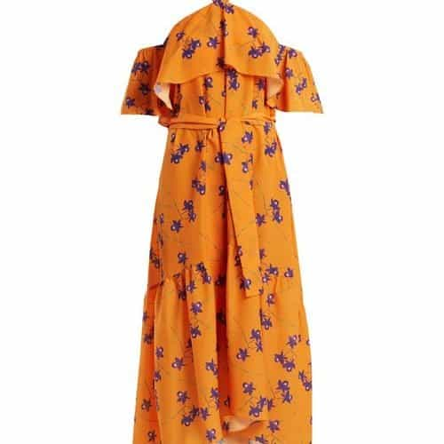 Borgo De Nor - Josephine Orchid Print Off The Shoulder Dress - Womens - Orange Multi