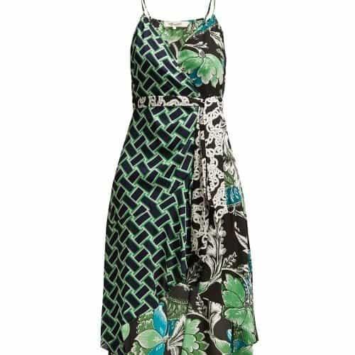 Diane Von Furstenberg - Katsia Floral Print Crepe Wrap Dress - Womens - Green Print