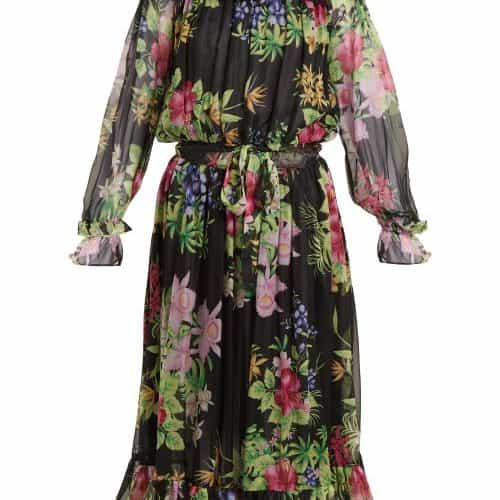 Dodo Bar Or - Vitti Floral Print Embellished Dress - Womens - Black Multi