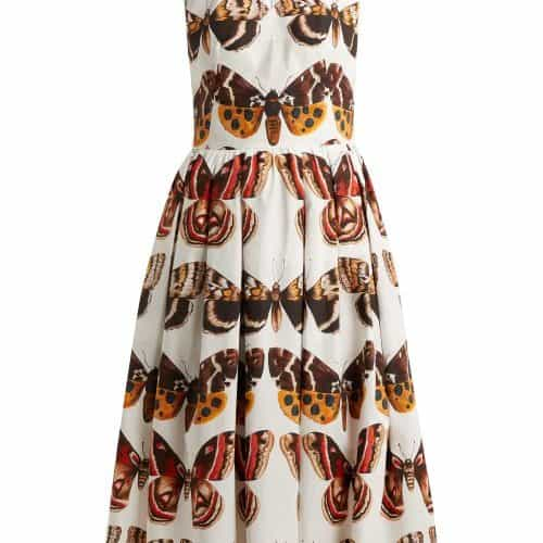 Dolce & Gabbana - Butterfly Print Pleated Cotton Dress - Womens - Brown White