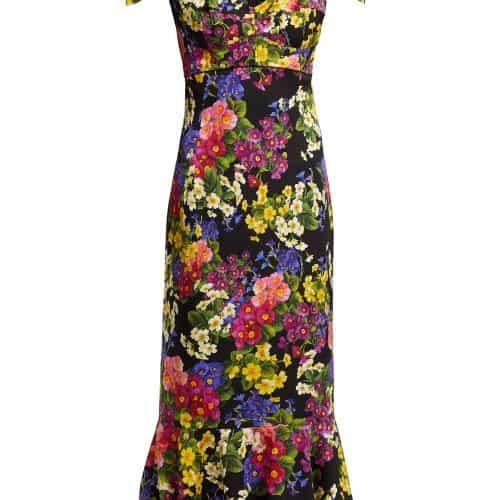 Dolce & Gabbana - Primrose Print Silk Blend Charmeuse Midi Dress - Womens - Black Multi