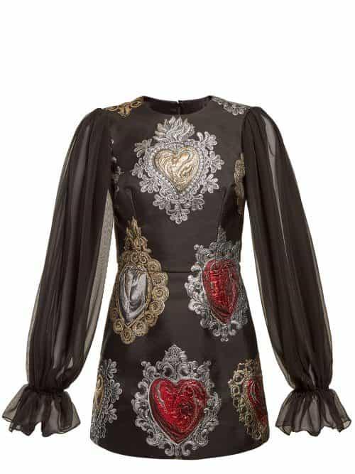 Dolce & Gabbana - Sacred Hearts Brocade Mini Dress - Womens - Black Multi
