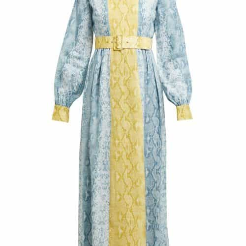 Emilia Wickstead – Snakeskin Print Linen Dress – Womens – Blue Print