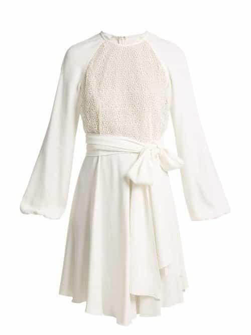 Giambattista Valli – Pois Lace And Crepe Mini Dress – Womens – White