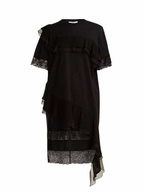 Givenchy – Asymmetric Ruffled Trimmed Cotton Jersey Dress – Womens – Black