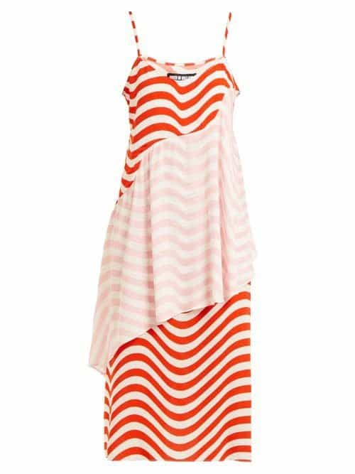 House Of Holland – Wave Print Slip Dress – Womens – Red White