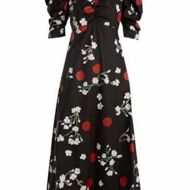 Isa Arfen – Wow Obliterated Blossom Print Ruched Cotton Dress – Womens – Black