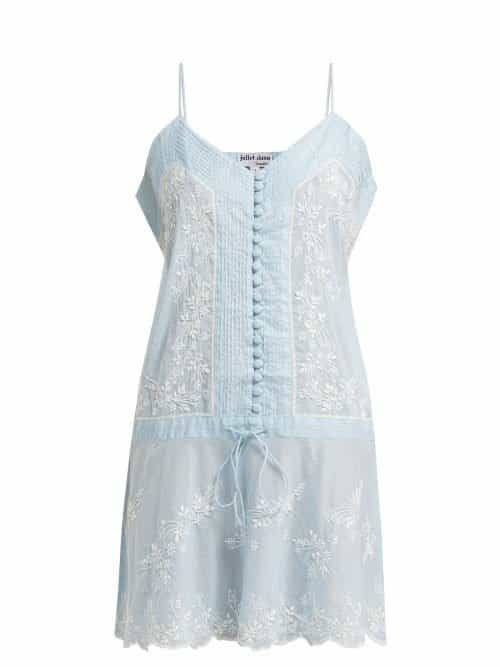 Juliet Dunn – Embroidered Cotton Slip Dress – Womens – Light Blue