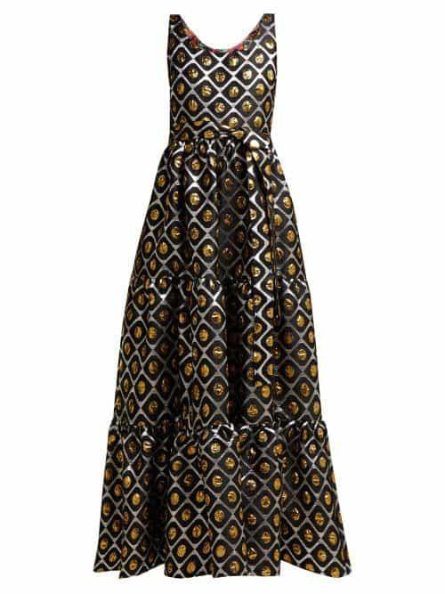 La Doublej – Pellicano Geometric Print Brocade Dress – Womens – Black Gold