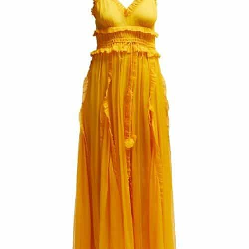 Lee Mathews – Lilla Ruffle Trimmed Silk Dress – Womens – Yellow