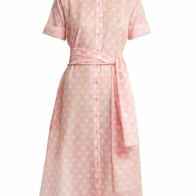 Lisa Marie Fernandez - Polka Dot Print Cotton Shirtdress - Womens - Pink White