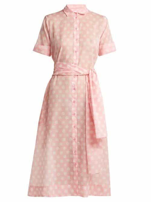 Lisa Marie Fernandez - Polka Dot Print Cotton Shirtdress - Womens - Pink White