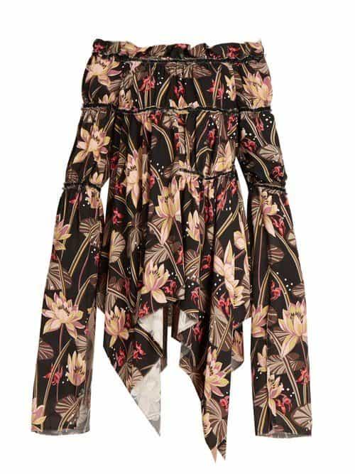 Loewe - X Paula's Ibiza Floral Print Crepe Dress - Womens - Black Print