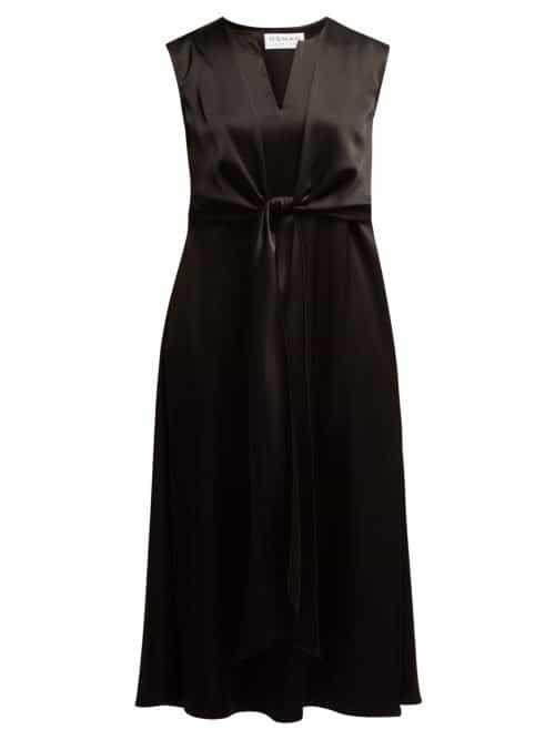 Osman – V Neck Tie Front Dress – Womens – Black
