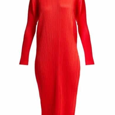 Pleats Please Issey Miyake – Mock Neck Pleated Dress – Womens – Red