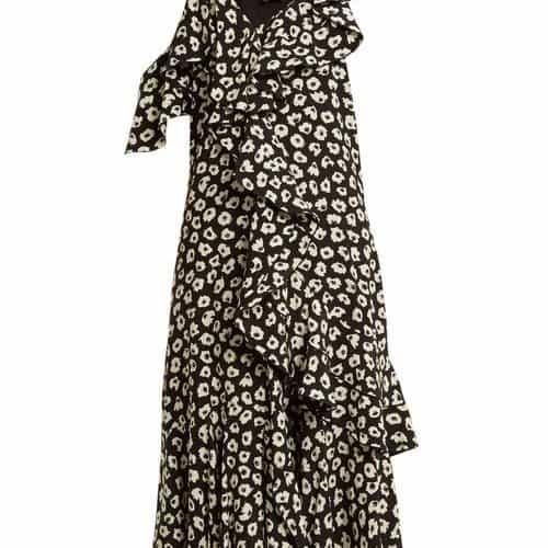 Proenza Schouler - Floral Print Silk Crepe Midi Dress - Womens - Black Multi