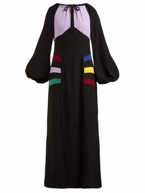 Staud – Pacha Panelled Crepe Maxi Dress – Womens – Black Multi