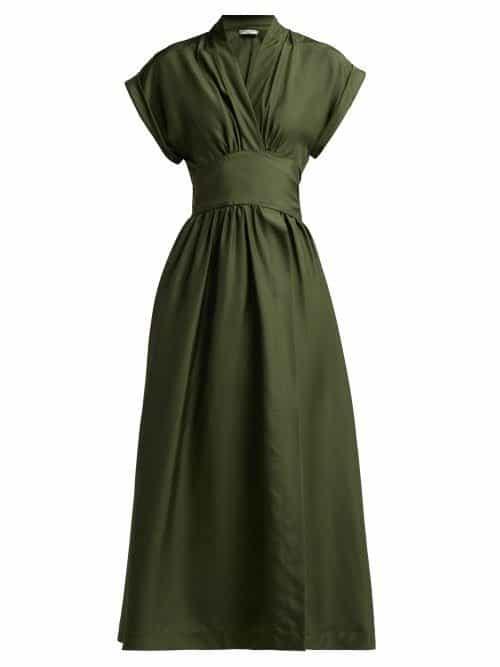 Three Graces London - Clarissa Silk Satin Wrap Dress - Womens - Dark Green
