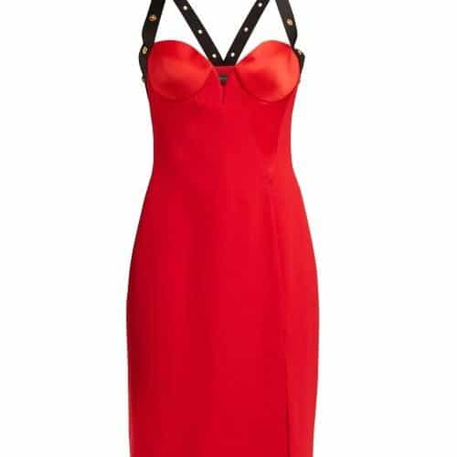 Versace - Medusa Stud Satin Mini Dress - Womens - Red