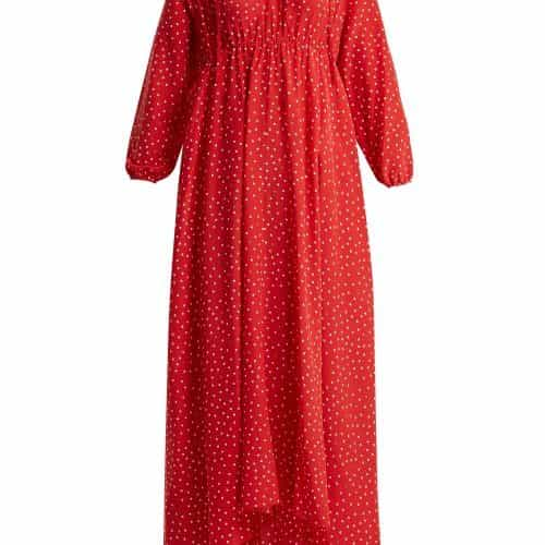 Vetements - Polka Dot And Emjoi Print Hooded Silk Dress - Womens - Red Print