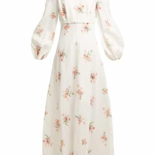 Zimmermann – Heathers Floral Print Linen Long Dress – Womens – White Multi