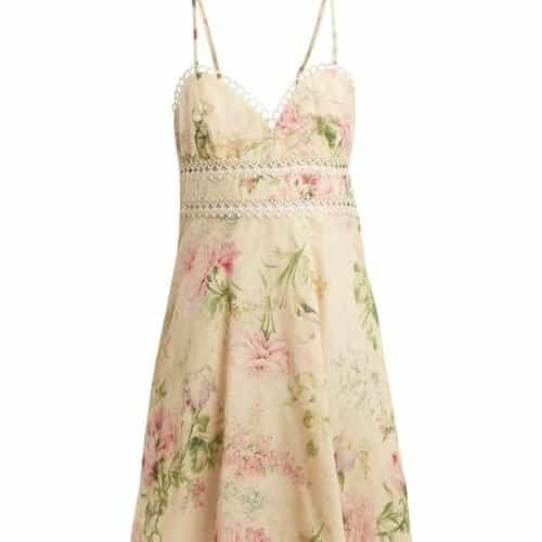 Zimmermann - Iris Floral Print Linen Blend Dress - Womens - Cream Multi