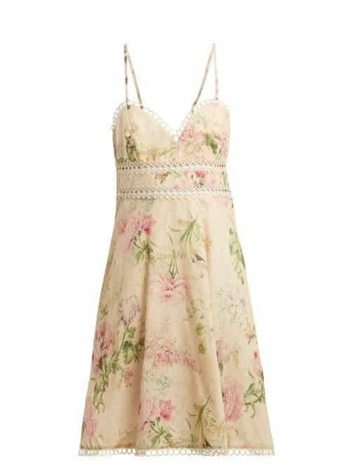 Zimmermann – Iris Floral Print Linen Blend Dress – Womens – Cream Multi