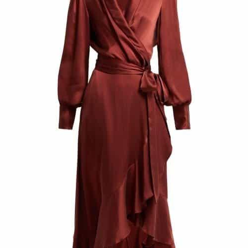 Zimmermann - Ruffled Silk Wrap Dress - Womens - Bronze