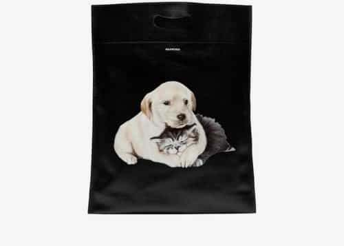 Balenciaga black, white and brown dog and cat print leather tote