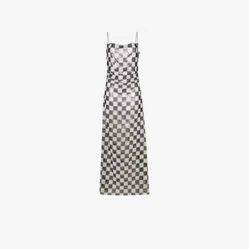 Filles A Papa check print sleeveless maxi dress