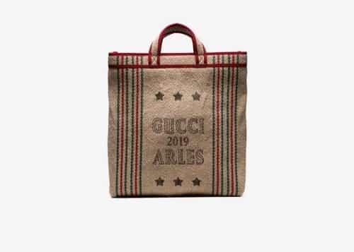 Gucci beige Juta Arles print straw tote bag