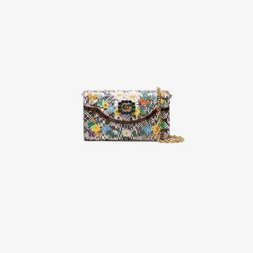 Gucci white Floral embroidered small snakeskin shoulder bag
