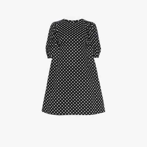 Paskal polka dot print flared cotton mini dress