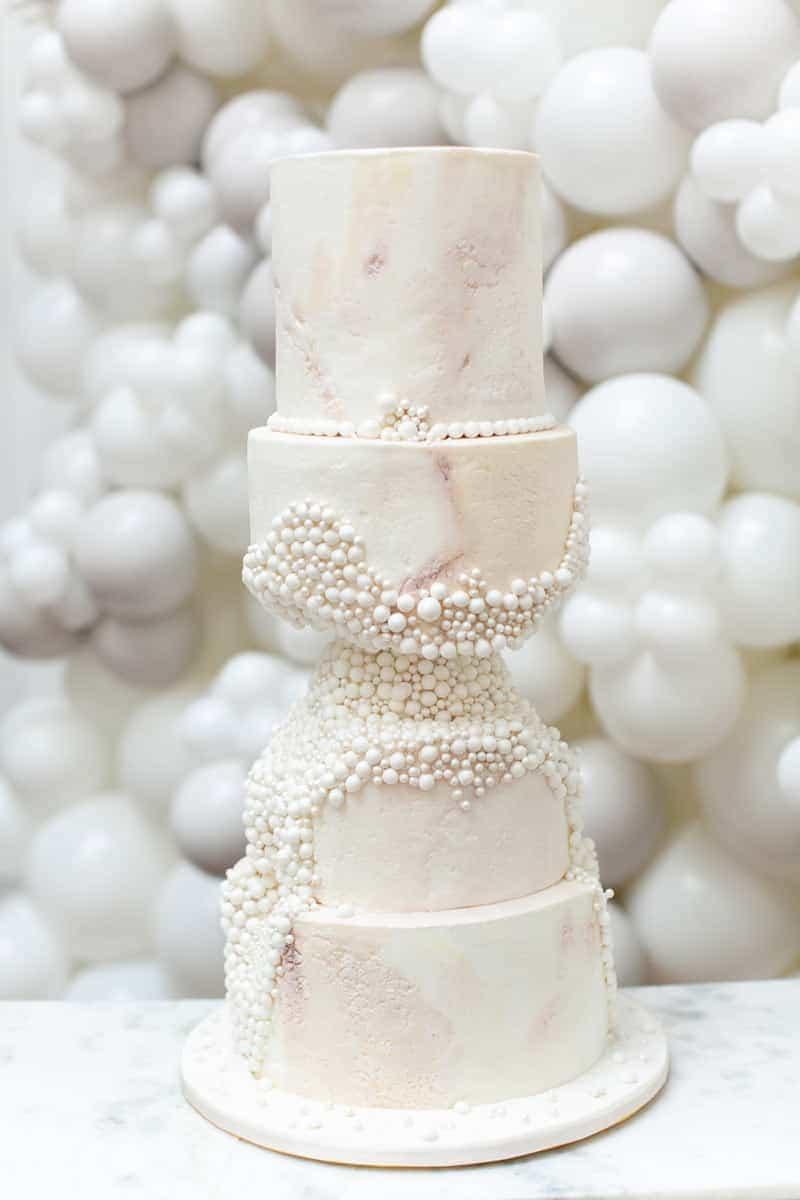 carved pearlode luxury wedding cake from elizabeth s cake emporium 1